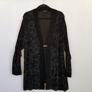 Vikki Vi Black Silver Travel Knit Cardigan Jacket